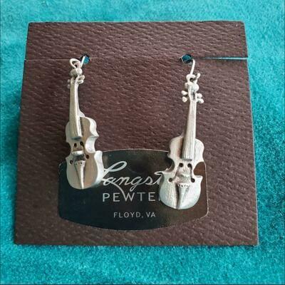 Langston Pewter Fiddle Earrings