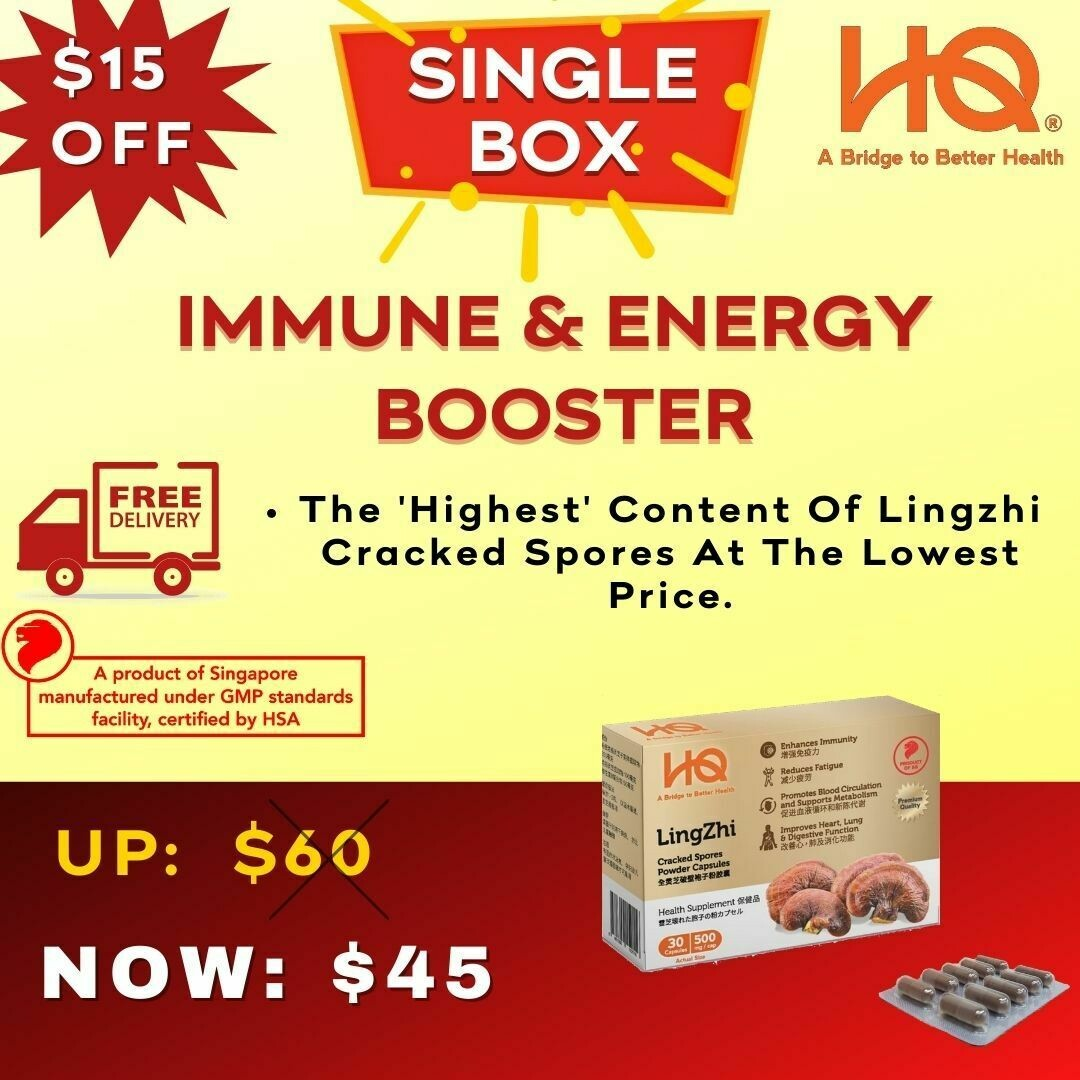 Lingzhi Cracked Spores - Single Pack (500mg x 30 capsules)
