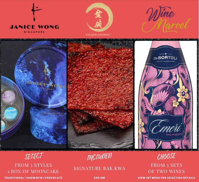 Mooncake (1 Box) + Signature Bak Kwa (500gm) + Any Wine Set (2 Bottles)