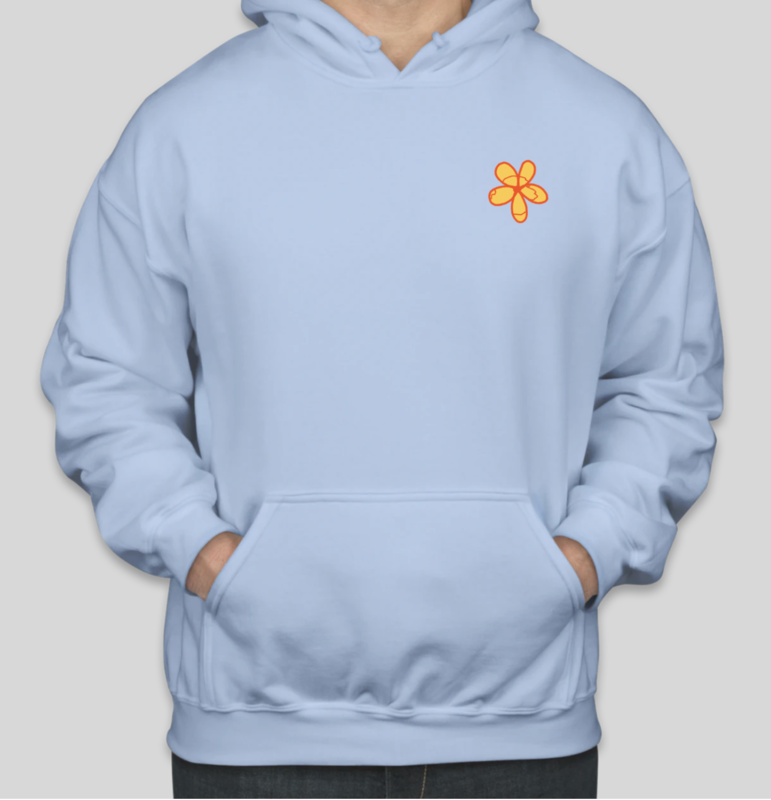Light Blue Hoodie Flower & Quote (ONLY 2 REMAINING)