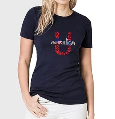 Women's Crew Neck Blue T-Shirt