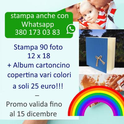 Stampa 90 Foto 12x18 + Album cartoncino copertina vari colori