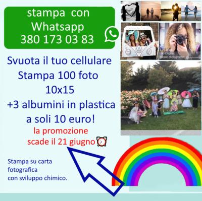 Stampa 100 Foto 10x15 + 3 albumini in plastica a solo 10 euro!