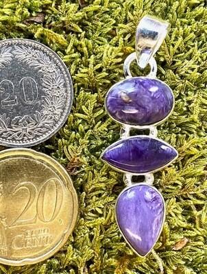 925 Silber Anhänger mit Charoit Steinen