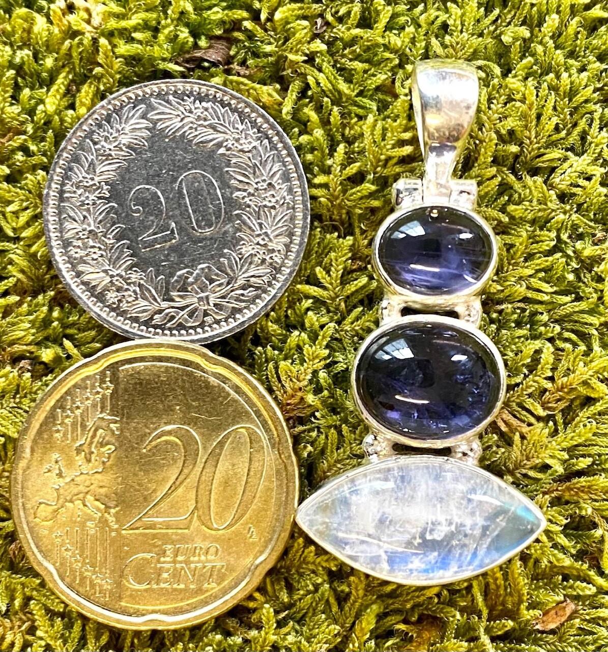 925 Silber Anhänger mit Tansanit und Mondstein Steinen