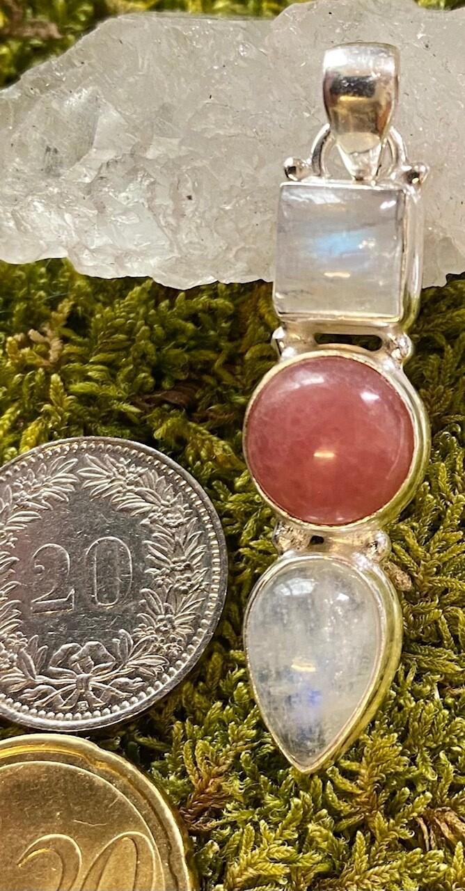 925 Silber Anhänger mit Rhodonit und Mondstein Steinen