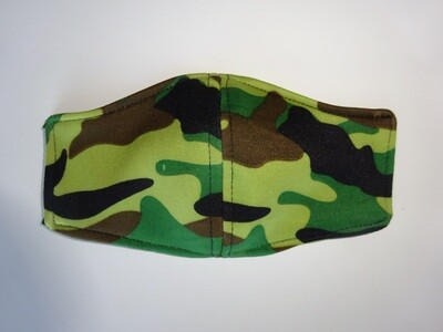 Stoffmaske Tarnmuster Army / Militär Grün für Kinder