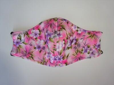 Stoffmaske Flowers / Blumen Pink