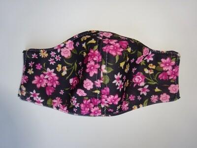 Stoffmaske Flowers / Blumen Pink auf Schwarz für Damen