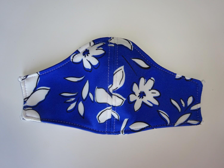 Stoffmaske Flowers / Blumen Weiss auf Blau