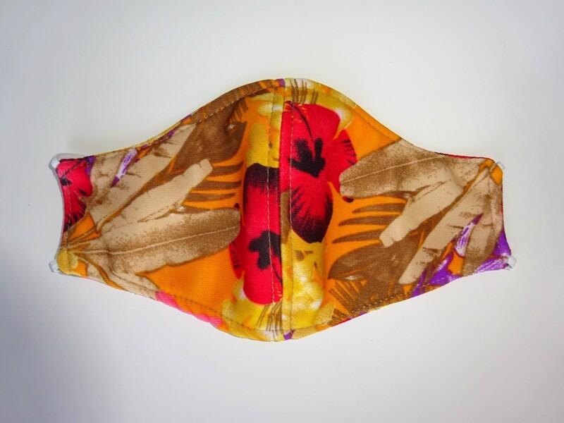 Stoffmaske Flowers / Blumen Rot auf Orange für Damen