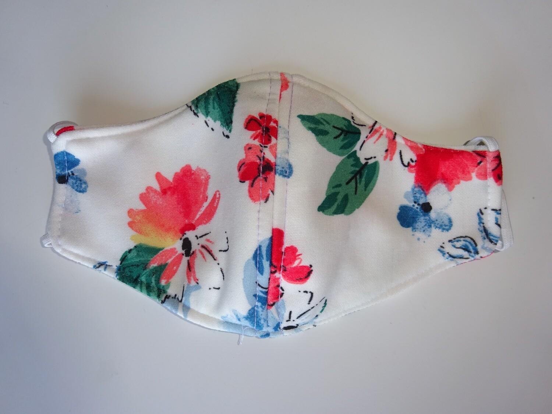 Stoffmaske Flowers / Blumen Rot auf Weiss für Damen