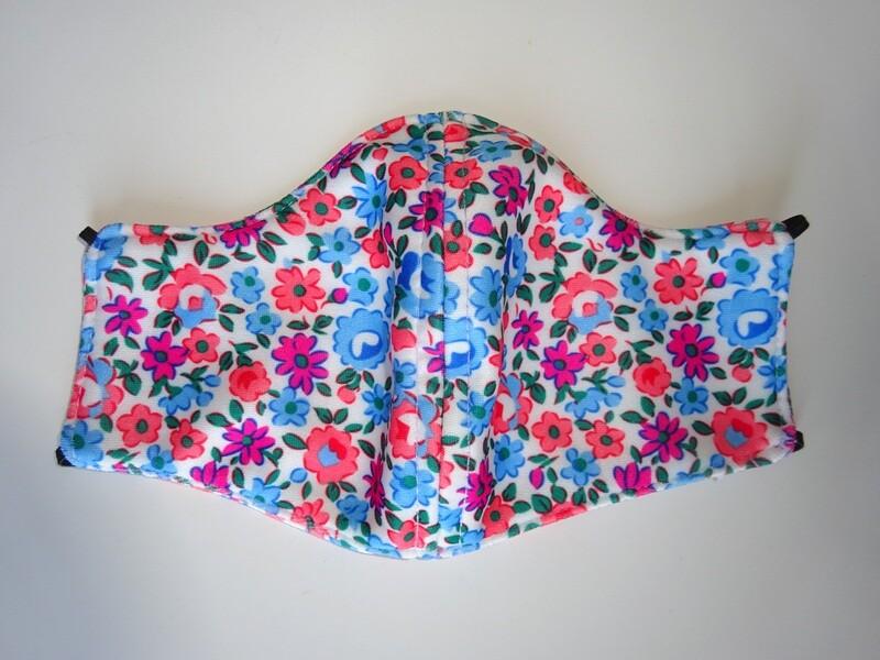 Stoffmaske Flowers / Blumen Rot und Blau für Damen