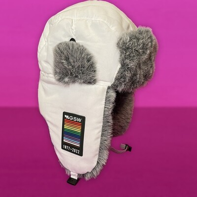Rainbow Bomber Hat in White