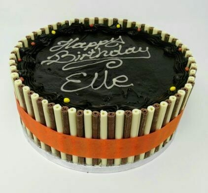 Chocolate Biscuit Cake with Chocolate Sticks