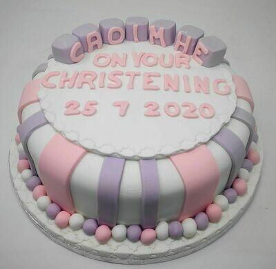 Striped Christening Cake with Blocks