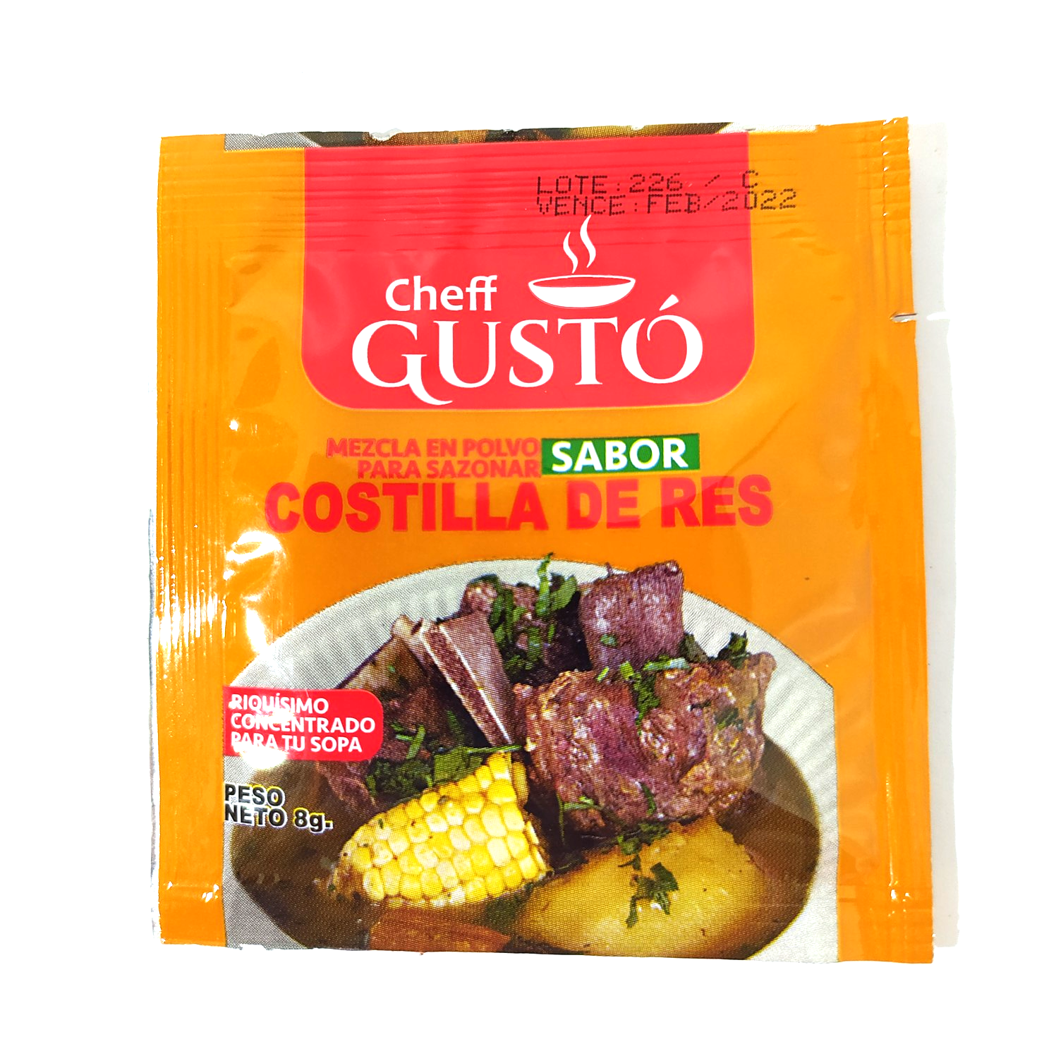 Condimento sabor costilla de res Chef Gustó 8 gr