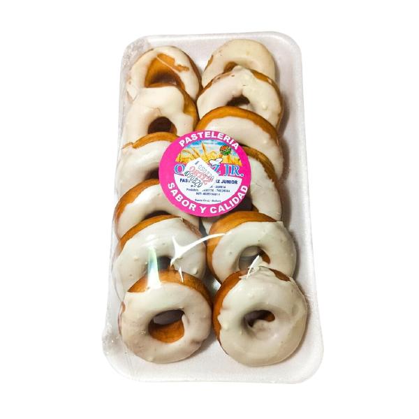 Donas con glaseado blanco Panadería Ortiz - 1 bandeja