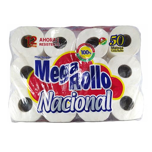 Papel higiénico Nacional Mega Rollo 12 Rollos