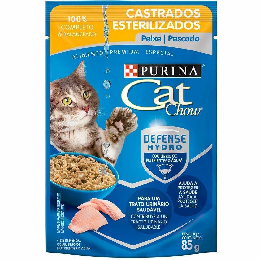 Comida húmeda Purina Cat Chow Hydro Castrados Pescado 85 gr