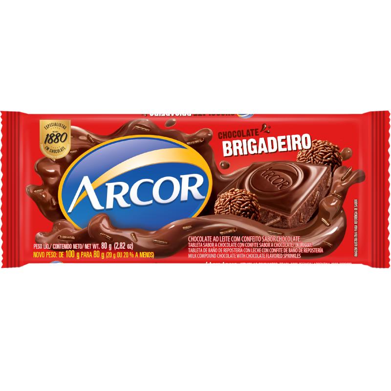Barra de chocolate Arcor Brigadeiro 80 gr