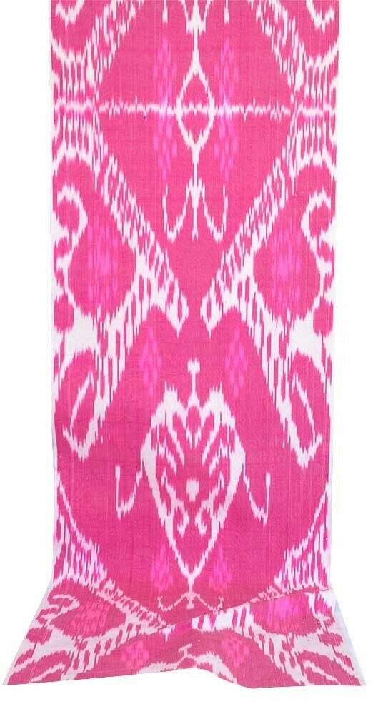Hot pink and white handwoven ikat fabric