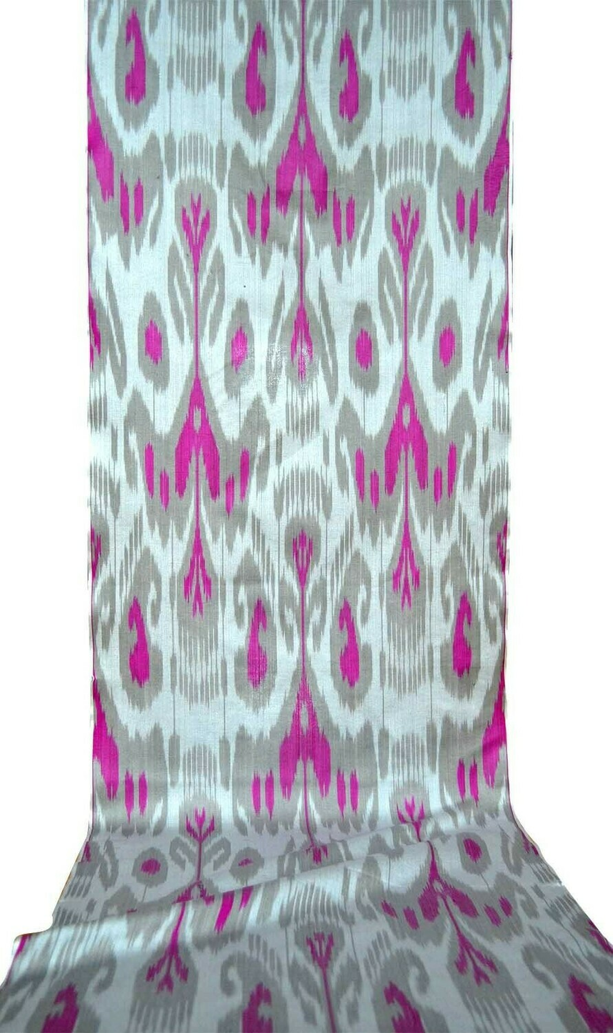 """Silver gray"" handwoven ikat fabric"
