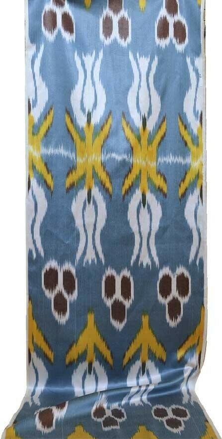 """Tulips on the turquoise"" handwoven ikat fabric"