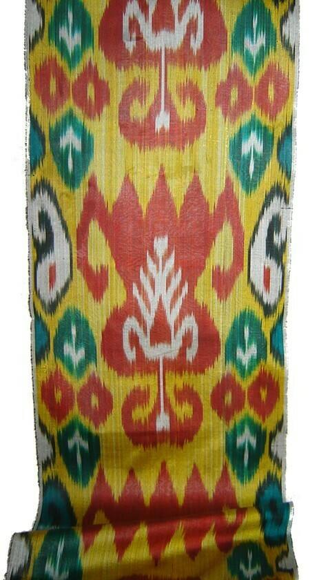 """Saffron and Tulips"" ikat adras fabric"