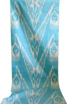 Light blue and white ikat fabric