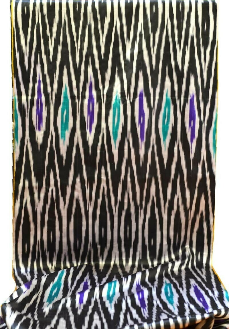 Black and white silk ikat  fabric - vintage satin!