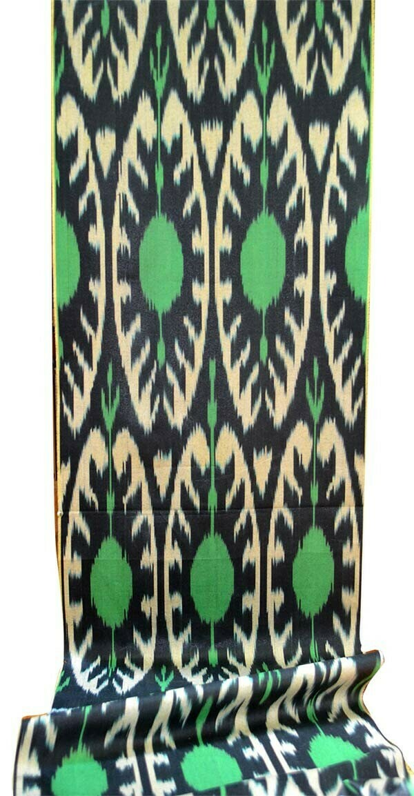 Stunning green and black ikat fabric