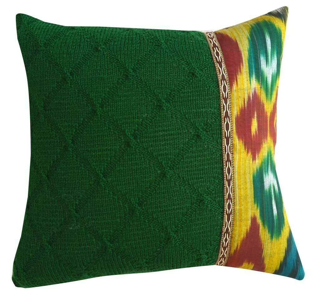 Saffron + Christmas Green knitted  pillow cover