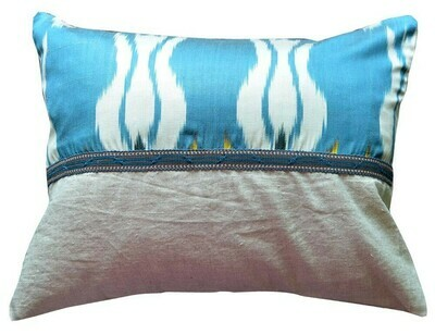 Turquoise blue ikat and linen boudoir size ikat pillow cover