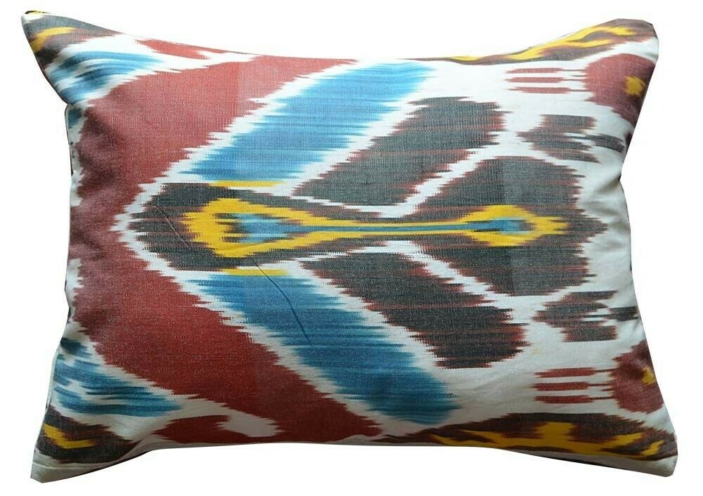Red ikat and linen pillow cover