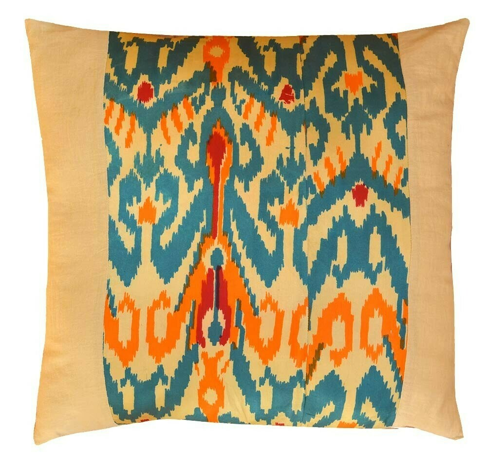 """Vintage Soviet ikat and linen 20"""" square pillow cover"""