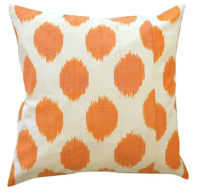 Orange white polkadot ikat pillow cover