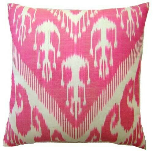 "As Is  - ""Candy pink"" square ikat pillow cover"