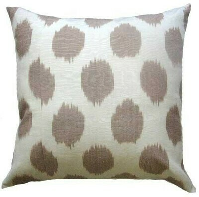 Brown and white polkadot square ikat pillow cover (organically dyed!)