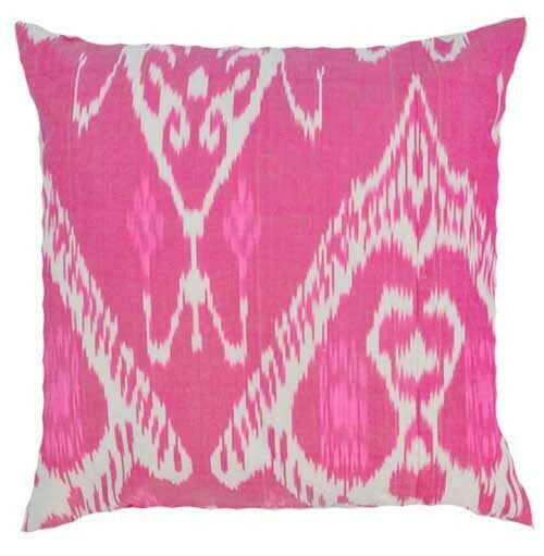 """""""Hot pink"""" 20"""" (50cm) square ikat pillow cover"""