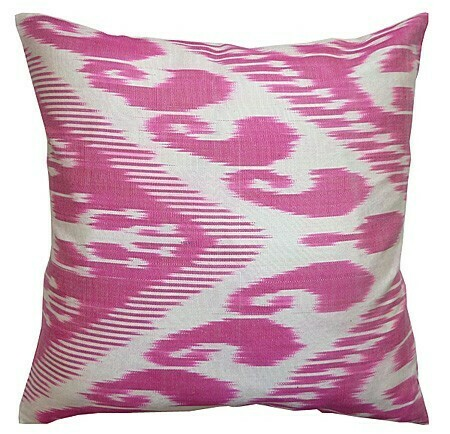 """Candy pink"" square ikat pillow cover"