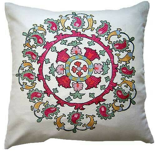 """""""Paisley carusel"""" suzani embroidered pillow cover"""