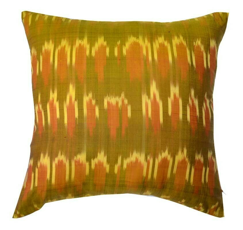 """""""Splashes of sunlight - trimmed"""" square ikat pillow cover"""