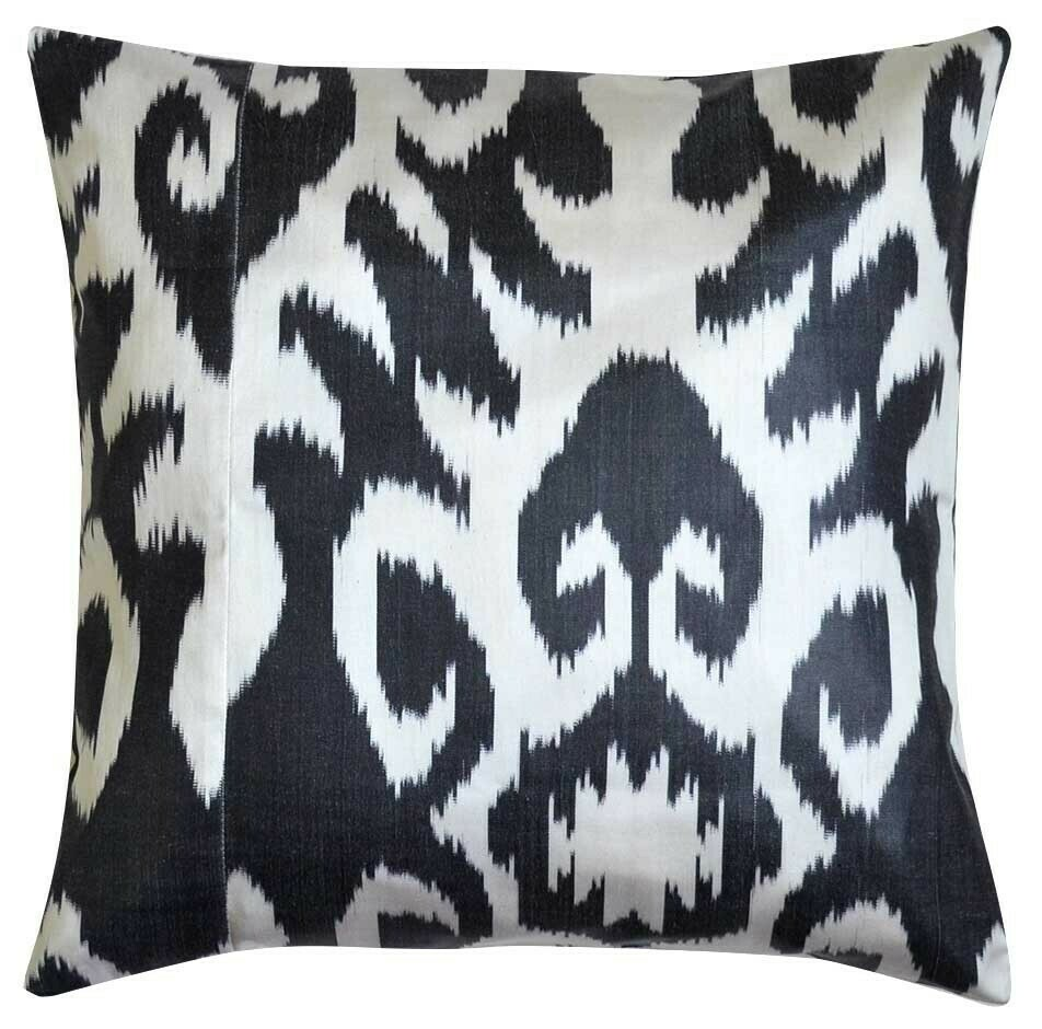 Square black and white ikat pillow cover
