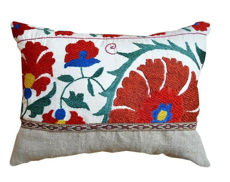 Suzani and linen boudoir pillow cover