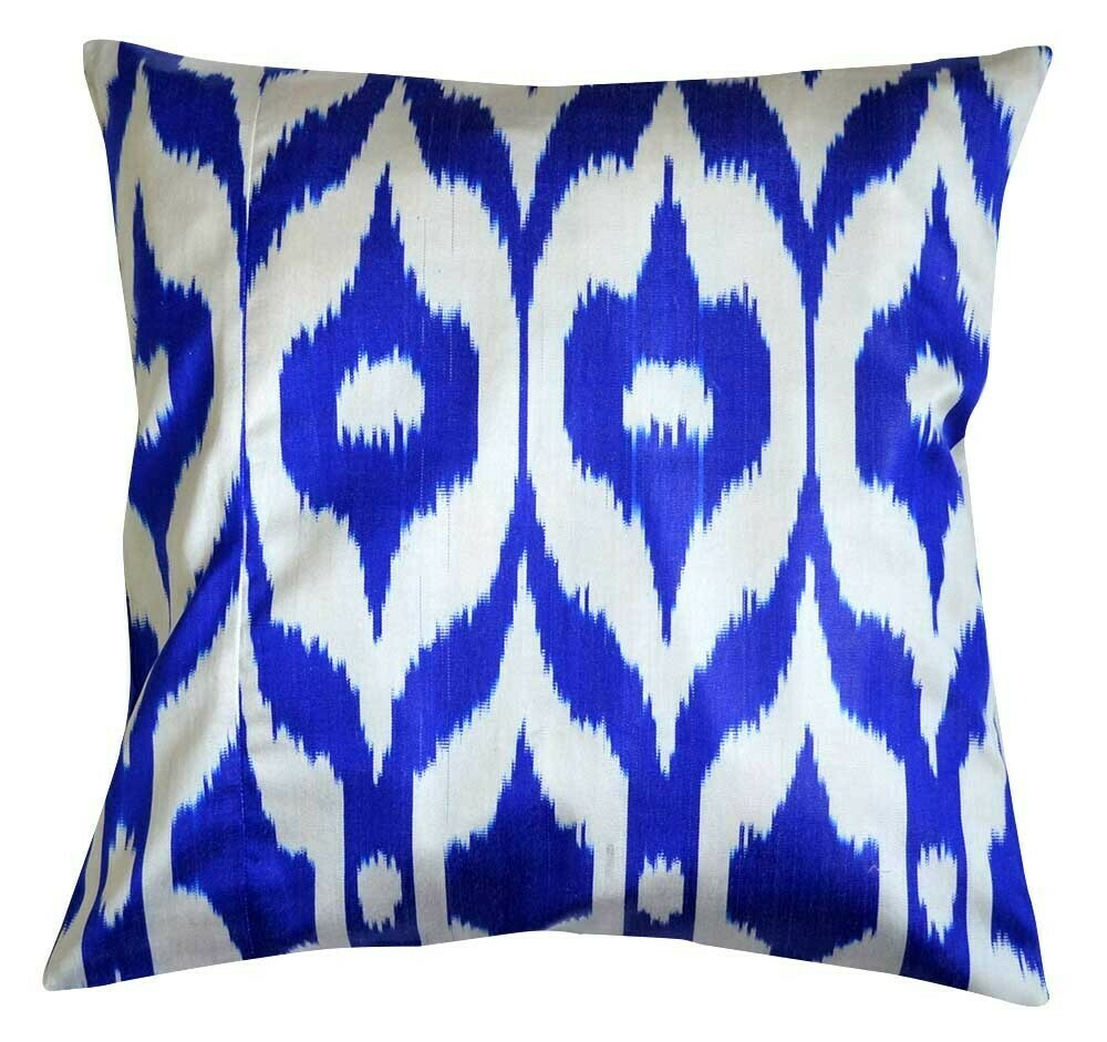 """Azzurro"" square blue and white ikat pillow cover"