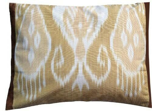 """Beige"" boudoir ikat pillow cover (organic dyes)"