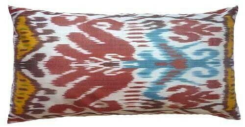 """""""Bayram ikat / solid"""" lumbar ikat pillow cover"""