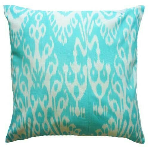 """""""Turquoise"""" euro size ikat pillow cover"""