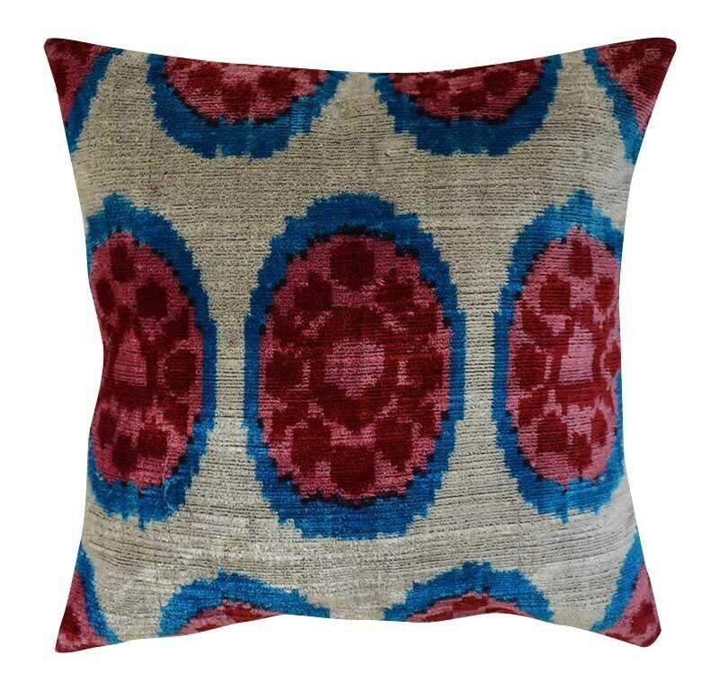 """""""Pomegranate Sun"""" square 16"""" (41cm) velvet ikat pillow cover"""